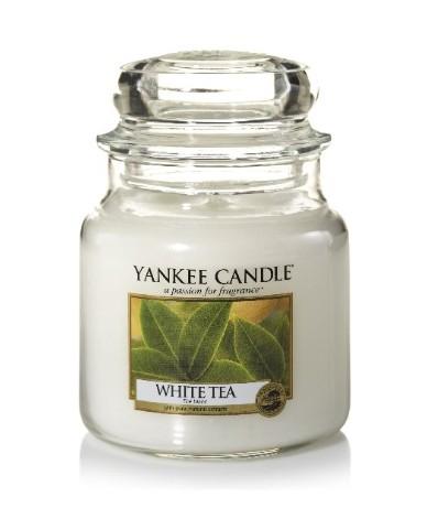 Svíčka Yankee Candle White Tea 411 g střední